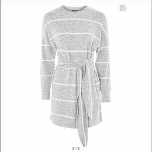 Topshop Stripe Cut & Sew Mini Sweater dress